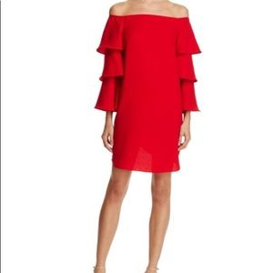 NWT Red Nanette Lepore Off Shoulder Ruffle Dress